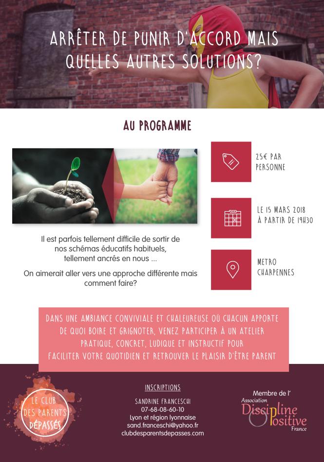 Alternatives à la punition. Sandrine Franceschi Lyon. Discipline Positive Lyon